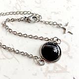 Náramky - Stainless Steel Black Agate Simple Bracelet / Elegantný náramok s čiernym achátom z chirurgickej ocele /1144 - 10110963_