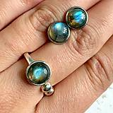 Sady šperkov - Elegant Labradorite Set / Elegantný set prsteňa a náušníc s labradoritom /1145 - 10111045_