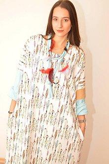 Šaty - KORÁL - oversized šaty z bavlneného úpletu s náhrdelníkom. - 10110570_