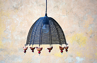 Svietidlá a sviečky - Ptačí. Drátovaný lustr. - 10111559_