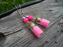 Náušnice - VÝPREDAJ! Náušnice mini fľaštičky Pink NEON - 10113097_