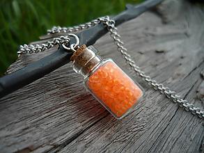 Náhrdelníky - VÝPREDAJ! Náhrdelník sklenená mini fľaštička Orange NEON - 10112716_