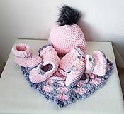Detské súpravy - Set čiapočka, šatka, rukavičky, sandálky,papučky - 10112039_