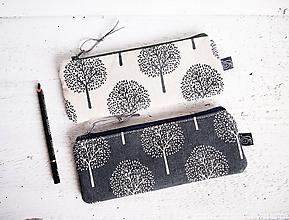 Taštičky - Peračníky režné - stromy v béžovej a sivej - 10110419_