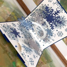 Papiernictvo - Popup vianočná pohľadnica, vločky  (Modrá) - 10090212_