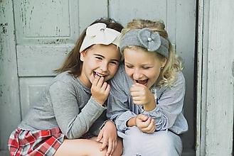 Detské čiapky - Dievčenská čelenka, 100% kašmír - šedá - 10111191_