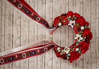 Ozdoby do vlasov - Svadobná ľudová kvetinová parta maky v červenom - 10111564_