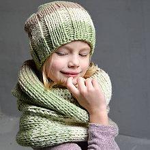 Detské čiapky - pletená čiapka 3-farebná - 10111934_