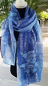 Šatky - modré kvety - 10112288_