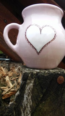 Nádoby - šálka čipkovane srdce - 10113319_