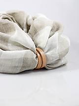 Doplnky - Veľká hrejivá ľanová šatka smotanovej farby