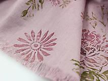 Šály - Ručne potlačený veľký ružový ľanový pléd