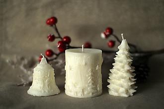 Svietidlá a sviečky - Sada vianočných sviec  (Biela) - 10113867_