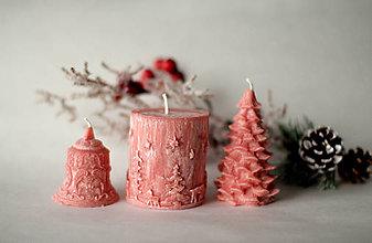 Svietidlá a sviečky - Sada vianočných sviec  (Červená) - 10113880_