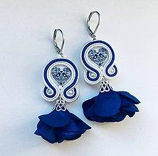 Náušnice - Kvietočkové folklórne náušnice FOLKI  (Modrá (kráľovská)) - 10109575_