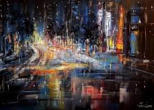 Obrazy - Noční ulice velkoměsta - orig. akryl - 10113730_