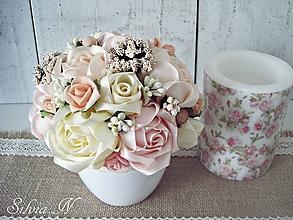Dekorácie - Kvetináč a ruže zo stúh. - 10112331_