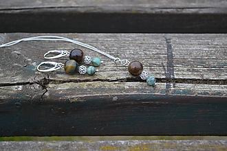 Sady šperkov - Tigrie oko a smaragdy v striebre sada - 10110223_