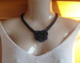 Náhrdelníky - Uzlový náhrdelník (dymovo čierny č.2461) - 10109104_