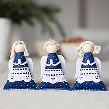 Dekorácie - Anjelikovia na zavesenie SADA modrotlač s madeirou - 10112747_
