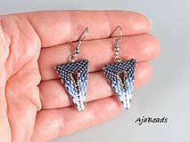 Náušnice - Náušnice - modré trojuholníky - 10113176_
