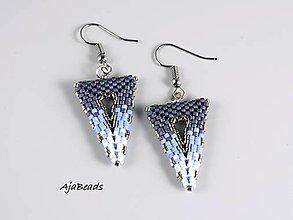 Náušnice - Náušnice - modré trojuholníky - 10113171_