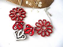 Náhrdelníky - drevený folk náhrdelník-červený - 10110187_