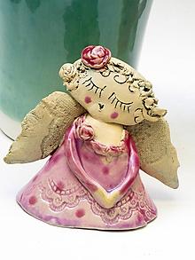Dekorácie - anjel  ružový - 10109778_