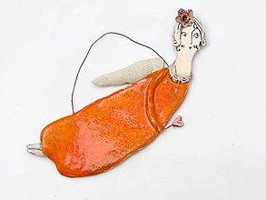 Dekorácie - anjel ružový na zavesenie (Oranžová) - 10109849_