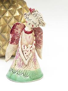 Dekorácie - anjel ružový stojaca dekorácia - 10110028_