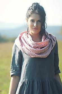 Šatky - Šátek růžový s béžovými kytičkami - 10113579_