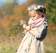 Detské doplnky - Šátek růžový s béžovými kytičkami - 10114026_
