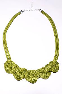 Náhrdelníky - Náhrdelník uzlový žltozelený - 10112200_