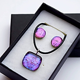 Sady šperkov - Fialová darčeková sada sklenených šperkov - 10109369_