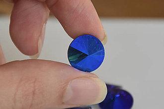 Komponenty - Kabošon sklenený rivoli cobalt AB 14mm, 0.40€/ks - 10112887_