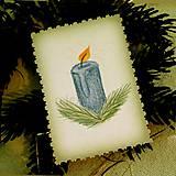 - Mini vianočná pohľadnica vintage - sviečka  - 10113220_