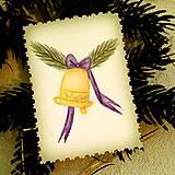 - Mini vianočná pohľadnica vintage - zvonček - 10113259_
