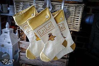 Dekorácie - Mikulášske čižmičky so zlatým lemom - 10118147_