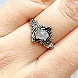 Prstene - ZĽAVA 45% Rose Quartz Antique Silver Ring / Starostrieborný prsteň s ruženínom /1149 - 10114420_