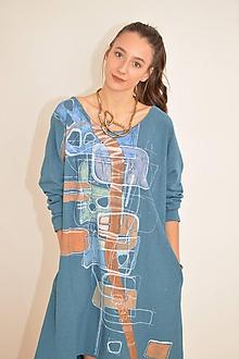 Šaty - DORA - modré oversized šaty z bavlneného úpletu s ručnou maľbou. - 10117215_