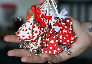 Dekorácie - Vianočné ozdôbky cinkavé bodkaté, sada 12 kusov - 10118059_