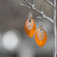 Náušnice - Náušnice Double - damaškové šupiny (oranžové) - 10114384_