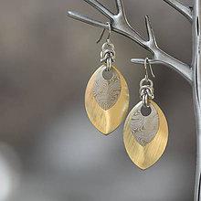 Náušnice - Náušnice Double - damaškové šupiny (zlaté) - 10114390_