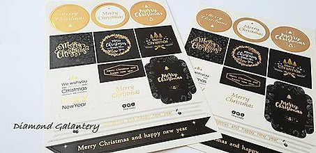 Iný materiál - Nálepky Merry Christmas - 10118901_