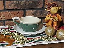 Nádoby - Keramická šálka na čaj,polievku+ tanierik na dobroty - new zelený set - 10116406_