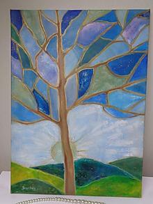 Obrazy - Modrý strom - abstrakt - 10116525_