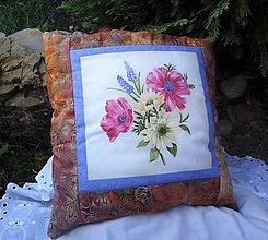 Úžitkový textil - Patchworkové vankúše (Modrá) - 10114443_
