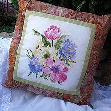 Úžitkový textil - Patchworkové vankúše (Zelená) - 10114450_