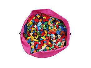 """Detské tašky - Úložný vak na hračky a kocky, bez potlače, ružovo modrý """"L"""" - 10115937_"""