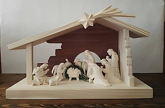 Dekorácie - Betlehem drevený 3-kráľový bez stromčeka - 10115876_
